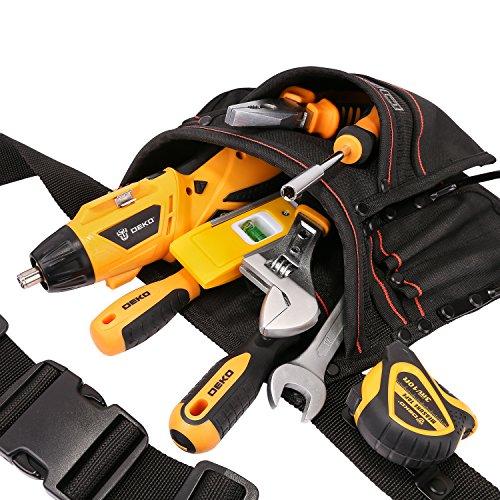 DEKO Tool Pouch with Belt 12 Pockets Electrician Tool Carpenter Nail Waist Bag 600D Oxford cloth Black by DEKO (Image #4)