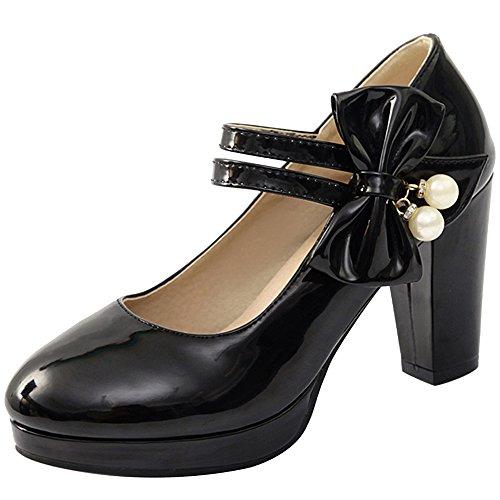 Mujer Elegante Negro Tacon VulusValas Zapatos Ancho d4dZq