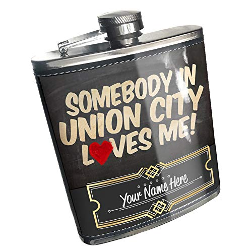 Neonblond Flask Somebody in Union City Loves me, New Jersey Custom Name Stainless Steel -