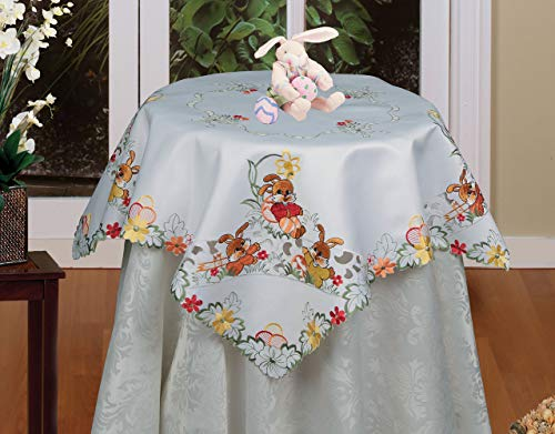 Creative Linens Embroidered Easter Bunny Egg Floral Tablecloth 33