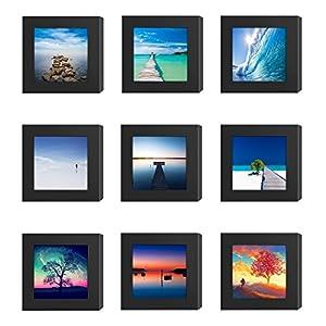Amazon Com 9pcs 4x4 Square Picture Frames Black Wood