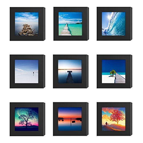 9PCs 4x4 Square Picture Frames Black Wood Instagram Photo Image fit Window 3.6 x 3.6 Wall Decoration