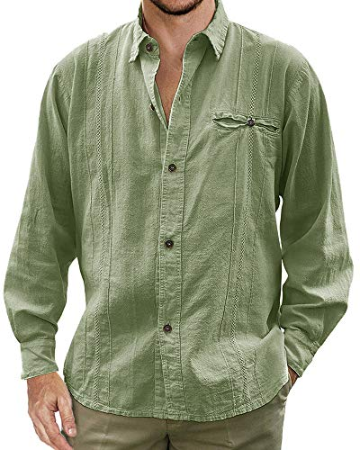 Mens Guayabera Shirt Cuban Linen Long Sleeve Button Down Shirts Collared Tees Beach Plain Tops Green ()