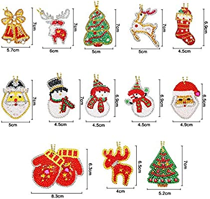 kuou 8 Pack Christmas 5D DIY Key Chains Diamond Painting Kits Full Drill Rhinestone Mosaic Making Decorative Kits for Art Craft Key Ring Phone Charm Bag Decor