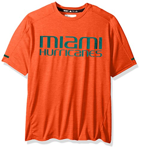 adidas NCAA Miami Hurricanes Adult Men NCAA Sideline Performance Tee, Large, Orange -