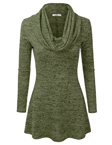 [Doublju Marled Cowl Neck A-Line Tunic Sweater Dress Top (Made In USA / Plus size available) OLIVE] (Cheap Plus Size Fancy Dress)