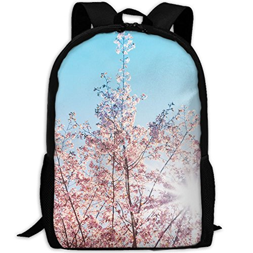 Spring Sunshine Cherry Tree Blossom- Unique Outdoor Shoulders Bag Fabric Backpack Multipurpose Daypacks For Adult (Sunshine Cherry)