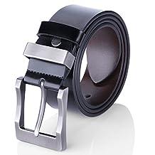 Men's Leather Belt Manual Buckle Belt for Men Reversible Black & Brown (41-42)
