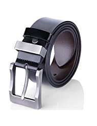 Men's Leather Belt Manual Buckle Belt for Men Reversible Black & Brown (35-36)