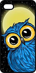Blue Night Owl With Big Eyes Black Rubber Case for Apple iPhone 5 or iPhone 5s