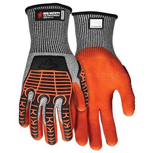 MCR Safety UltraTech 13 Gauge Cut Resistant HPPE Gloves with Nitrile Foam Palm and TPR Back, 2XL (7 Pairs)