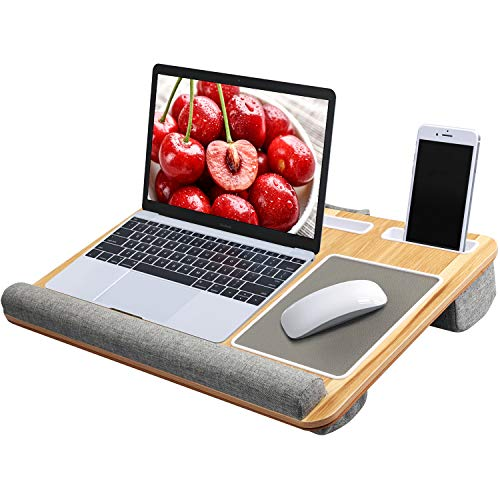 - Lap Desk - Fits up to 17 inches Laptop Desk, Built in Mouse Pad & Wrist Pad for Notebook, MacBook, Tablet, Laptop Stand with Tablet, Pen & Phone Holder (Wood Grain)