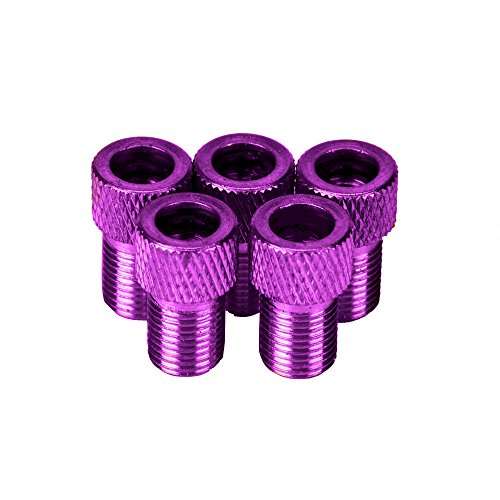 Dressffe 5 Pcs US Schrader Valve Adaptor Converter Bicycle Bike Tire Tube Pump Connector (purple)