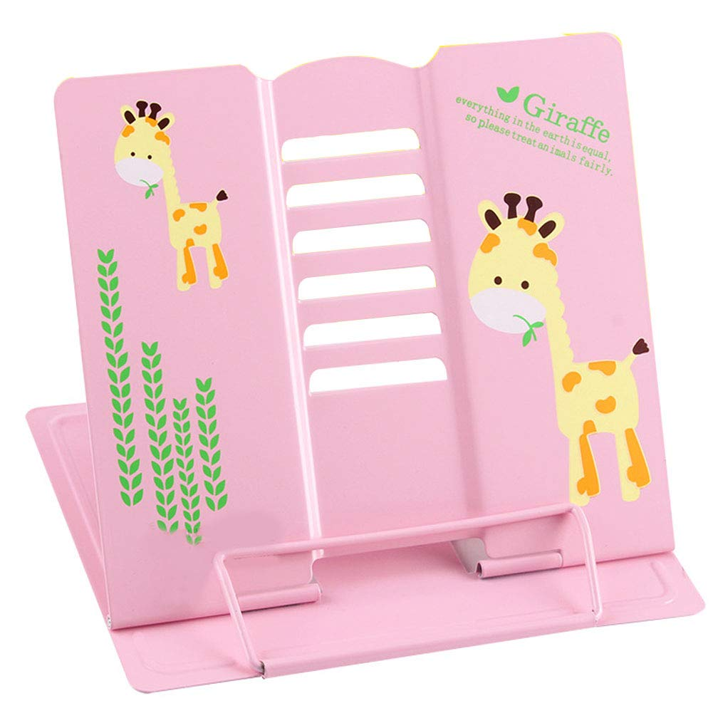 Metal Portable Streamlined Folding Reading Book Artifact Bookshelf to Read The Bookshelf to Prevent Myopia Students, Correct The Child's Sitting Posture (Pink)