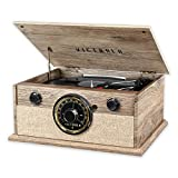 Victrola Wood Bluetooth Mid Centry Record Player with 3-Speed Turntable and Radio (Renewed)