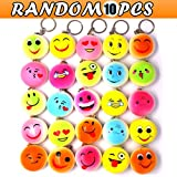 JACHAM Emoji Keychain, Mini Soft Mochi Squishy Toys Party Favors, 10PCS Random Kawaii Slow Rising Stress Relieve Fidget Keychain Decoration Toys Kids Adults Gift.