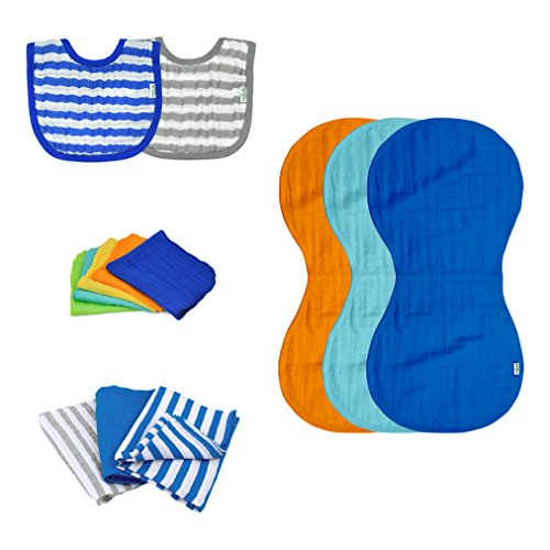 green sprouts Muslin Bibs and Burp Cloths Set made from Organic Cotton, Blue ()