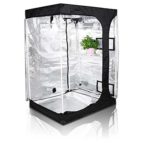 Oppolite 48''x36''x72'' 2-in-1 Hydroponic Indoor Grow Tent Room Propagation High Reflective 600D Diamond Mylar Growing Plant w/Metal Corner (48''X36''X72'') by Oppolite
