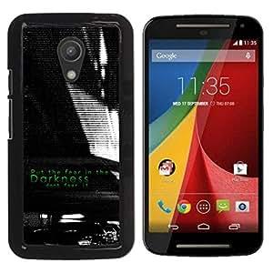 Paccase / SLIM PC / Aliminium Casa Carcasa Funda Case Cover para - Darkness Black White Fear Inspiring - Motorola MOTO G 2ND GEN II