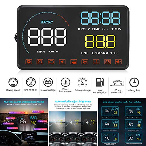 Zqasales Universal Car HUD Head Up Display Digital GPS Speedometer with Speedup Test Brake Test Overspeed Alarm TFT LCD Display HD Refitting Code Table Display for All Vehicle