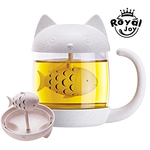 3D Cute Cat Glass Tea Mug  Animal Coffee Mug  Tea Cup With Fish Infuser Filter Strainer  Novelty Gift With Fish Filter In Cat Mug Lovely Kitty Cup  Home Office D Cor
