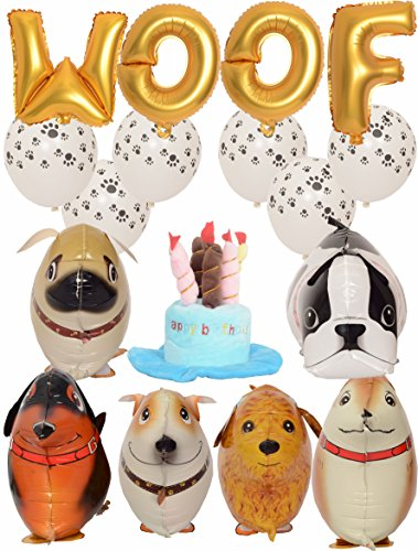 Meant2ToBe Dog Birthday Decorations Kit, 12 Inch WOOF Letter Ballons - 6Pc Walking Animal Pet Dog balloons - Paw Prints Round Biodegradable Latex Balloons - Blue Dog Birthday Hat by Meant2ToBe (Image #3)