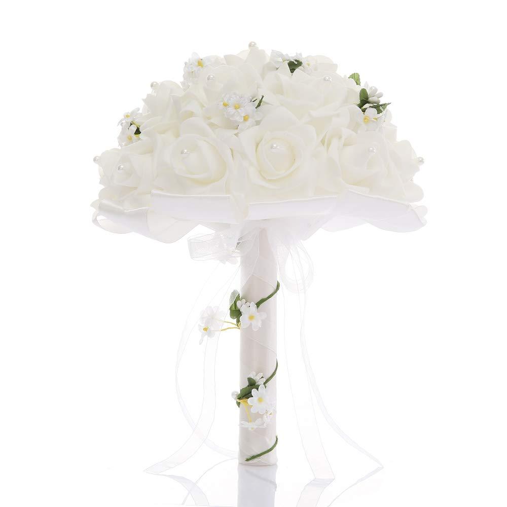 TrueLoveGift Wedding Bouquet, Bridesmaid Toss Bouquet Hand Made Artificial Rose Flowers Diamond Satin Bridal Bouquets for Wedding, Engagement Valentine's Day Decor (Lace) …