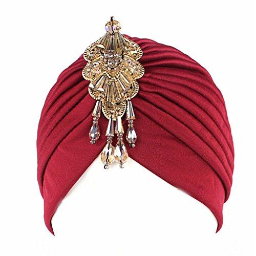 Turban Head Wrap Hat With Beaded Pendant Women Headwear wine