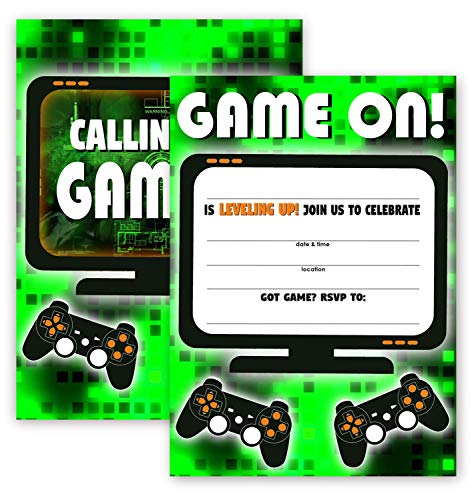 (POP parties Gaming Green Party Large Invitations - 10 Invitations + 10 Envelopes - Double Sided - Video Game Invitations - Game Truck Party Supplies - Green)
