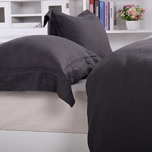 Simple&Opulence 100% Linen Pure Solid Color Embroidery Border Queen King Duvet Cover Set(Multi-Colored Options) (King, Dark - Opulence King Comforter