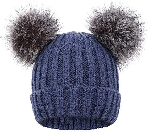 Arctic Paw Cable Knit Beanie with Double Faux Fur Pompom Ears Navy