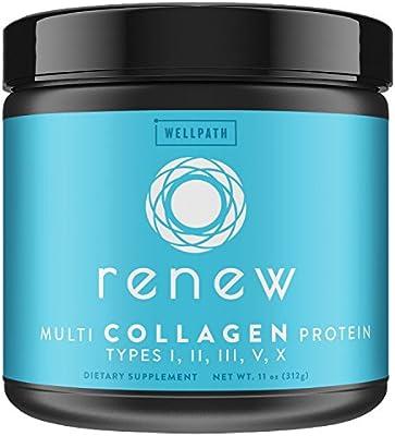 RENEW Multi Collagen Protein Powder - Premium Blend of Hydrolyzed Grass-Fed Bovine, Marine, Chicken & Egg Collagen Peptides | Type I, II, III, V, and X | Vital Supplement For Women & Men | KETO | 11oz