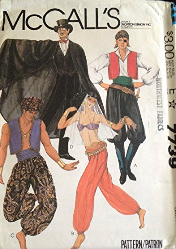 McCall's Costumes 7739 Adult Small 32.5-34 Various Costumes Sewing Pattern Vintage (Cummerbund Costume)