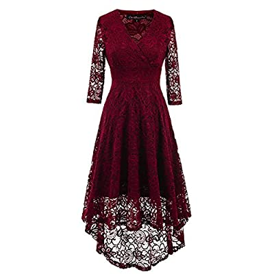 EvoLand Women's Lace 3/4 Sleeve Cocktail Evening Party Dress
