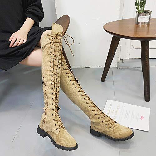 Sonnena Fit Heels Boots Langschaftstiefel Strecken Schuhe Slim Party Khaki Casual Rund Stiefel Toe Schnürer Mode Overknee High Stiefel Elegant Damen Stiefel 1wxfgg