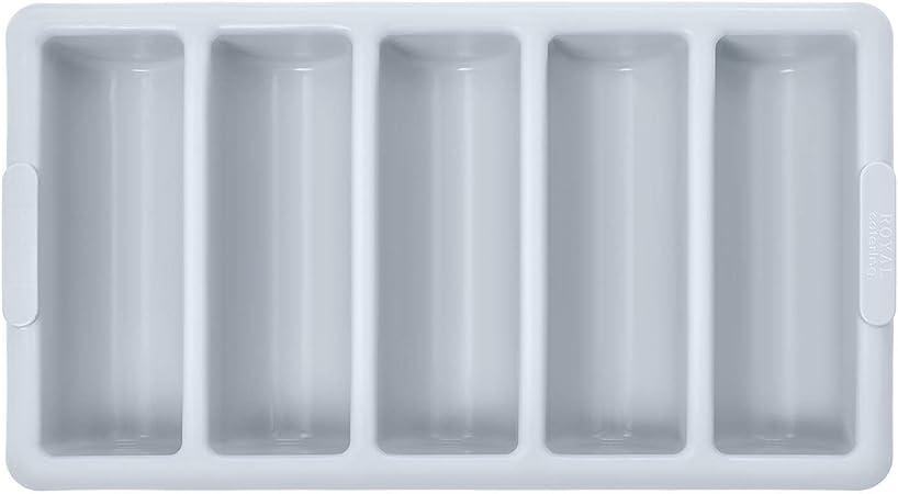 Royal Catering Portaposate in Plastica Professionale Contenitore per Posate RCCH 5G 5 scomparti, Grigio, Polipropilene