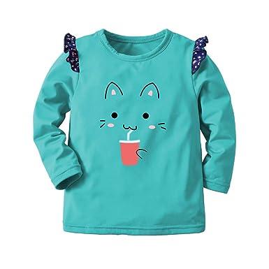 35e4469e951f7 BaZhaHei Sweat-Shirt Fille Bébé Enfants Impression de Chat Hiver Chaud  Épais Tops Petite Manche
