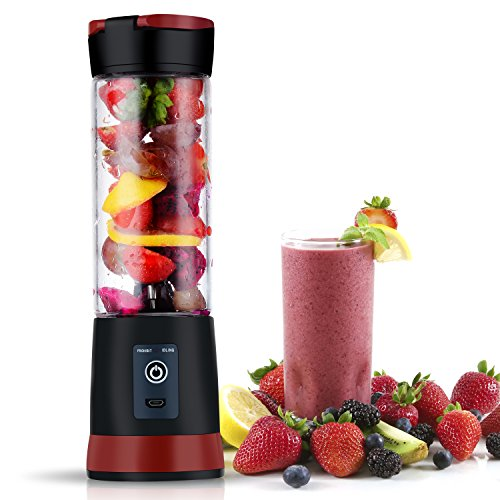 Personal Juicer Blender, Portable USB Electric Safety Juicer Cup with Travel Lid, Mini Single Serve Fruit Mixing Machine with Updated 6 Blades, 15.3oz/450ml, Black-Red