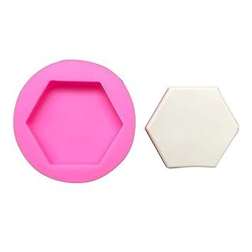 Starter Moldes de silicona para repostería - Hexagonal piedra perfumada molde de yeso decoración del coche placas de fruta hexagonal plato de hormigón molde ...