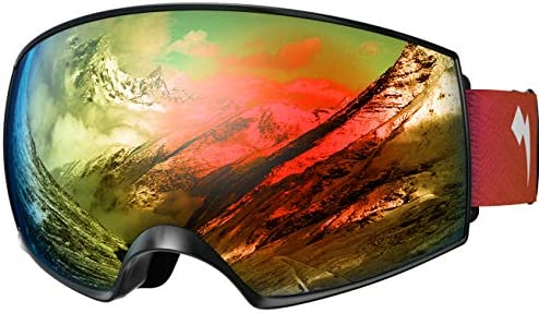WhiteFang Ski Goggles PRO for Men Women Youth, Over Glasses Anti-Fog UV400 Protection Snow Goggles, Magnet Dual Layers Lens Snowboard Goggles OTG