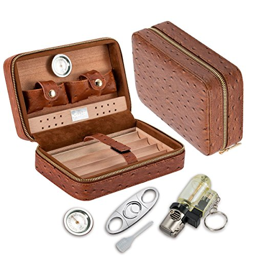 Scotte Portable cigars humidors wood & leather handheld cigar humidors travel cigar box by Scotte