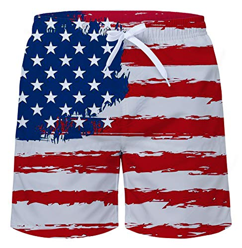 Uideazone Men Short Stylish Trunks July 4th Printed Quick Dry Lightweight Swimwear Bathing Suit for Beach Pool Casual ()