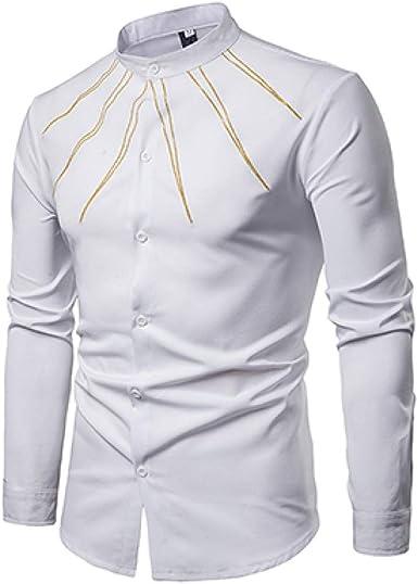 Loeay Moda Camisas de Manga Larga Hombres Turn Down Collar Camisa de Color sólido Elegante Caballero Hombre Simple Casual Viento Ropa de Hombre: Amazon.es: Ropa y accesorios