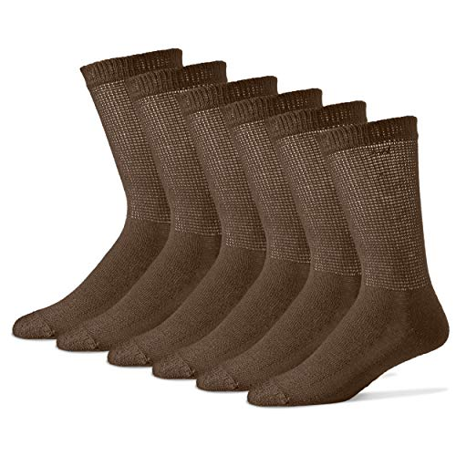 Diabetic Socks for Men – Mens Circulatory Socks – Medical Socks for Neuropathy, Edema, diabetes – 12 Pack Size 10-13 – Made in the USA (Brown)