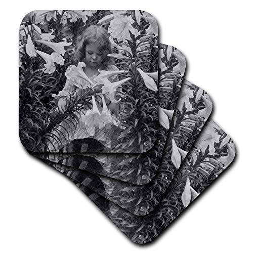 Rubber 6760 (3dRose Scenes from the Past Vintage Stereoview - Among the Lillies Black and White - set of 4 Coasters - Soft (cst_6760_1))