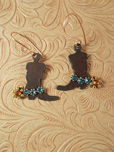 Barrel Racer Spurs (Western Rodeo Earrings - Rusty Finished Steel Cowgirl Boots with Turquoise Swarovski Crystal Spur Straps)