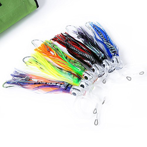 Set of 6 9 Inch Saltwater Fishing Lures Trolling Lures for Tuna Marlin Dolphin Mahi Wahoo and Durado, Included  Rigged Big Game Fishing Lures and Bag
