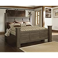 Juararoy Casual Dark Brown Color Replicated rough-sawn oak King Poster Bed