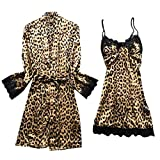 Swyss Women's Satin Silk Pajamas Set Leopard Lace Trim Kimono Robe and Chemise Nightgown Pj Set Sleepwear Nightwear (Brown,M)