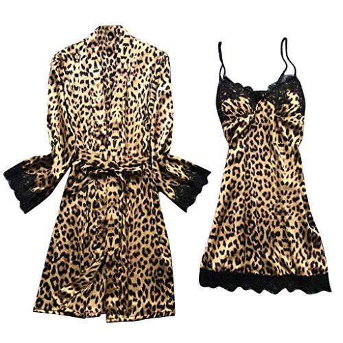 Swyss Women's Satin Silk Pajamas Set Leopard Lace Trim Kimono Robe and Chemise Nightgown Pj Set Sleepwear Nightwear (Brown,L)